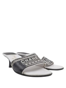 Chanel Leather Embroidered Black Mules