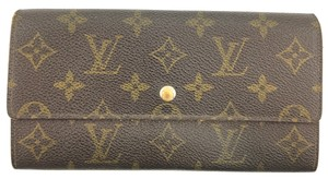 Louis Vuitton #15336 Monogram Long Flap Wallet Pocket Card Case Coin sarah