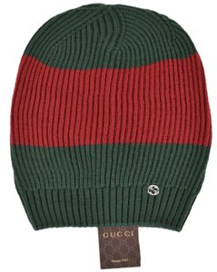 04fa0265 Gucci New Gucci Men's 310777 Wool Green Red Interlocking GG Slouchy Beanie