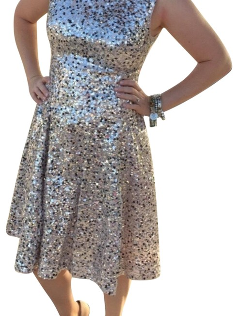 Item - Silver Over Blush Celebrate Good Times Mid-length Cocktail Dress Size 6 (S)