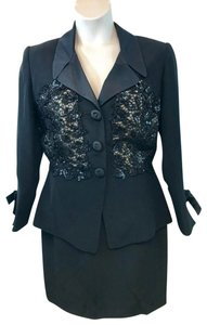 Liancarlo Liancarlo Neiman Marcus Embellished Black Cocktail Skirt Suit 12