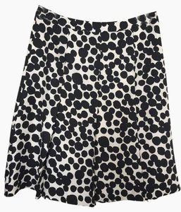 Banana Republic Silk Business Professional Skirt Black and Cream large polka dot