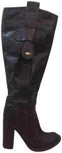 Chlo Genuine Leather Leather Italian Riding Gold Hardware Black Boots