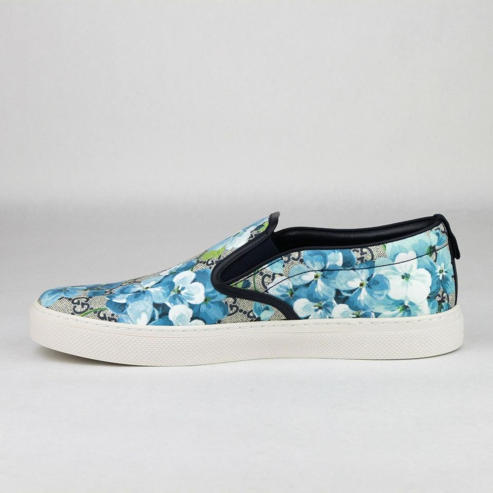 f55109ab174 Gucci Blue Men s Bloom Print Flower Slip On Sneakers 8.5g 9.5 407362 8471  Shoes. 12345678