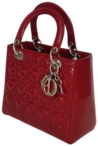 Dior Lady Purse Clutch Tote in Bright Red or Cherry red