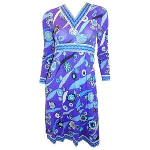 Emilio Pucci short dress Blue Vintage Print Jersey on Tradesy