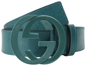 Gucci Imprime Belt w/Interlocking G Buckle Teal 105/42 223891 4715