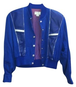 Deju Vu Designs Combination Material And Leather. Cobalt Blue Leather Jacket