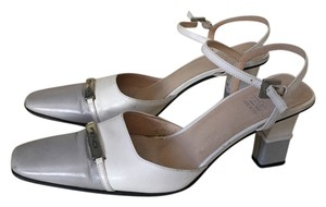 Fendi Leather Ankle Strap Brand Logo Grey and white Sandals
