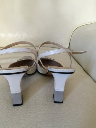 Fendi Leather Ankle Strap Logo Grey and white Sandals