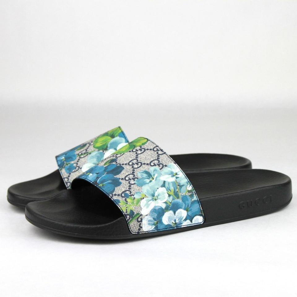 654e0603c19a Gucci Blue Men s Bloom Print Flower Slide Sandals 13g  Us 14 407345 ...