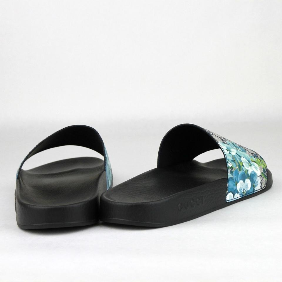 66b7b55b5 Gucci Blue Men s Bloom Print Flower Slide Sandals 13g  Us 14 407345 8498  Shoes Image. 12345678
