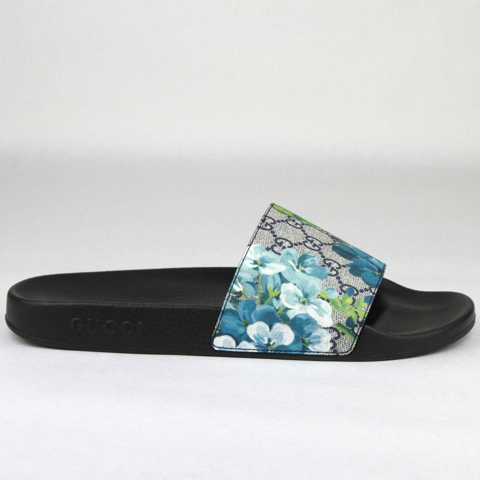 871a8f939f81 Gucci Blue Men's Bloom Print Flower Slide Sandals 14g /Us 15 407345 8498  Shoes