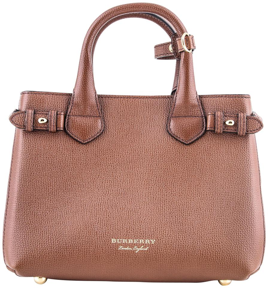 a7ab66760d Burberry Small Banner In Leather and House Check Tan Tote - Tradesy