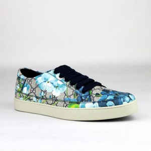 Gucci Blue Men's Bloom Print Flower Sneaker 7.5g/Us 8.5 407343 8470 Shoes