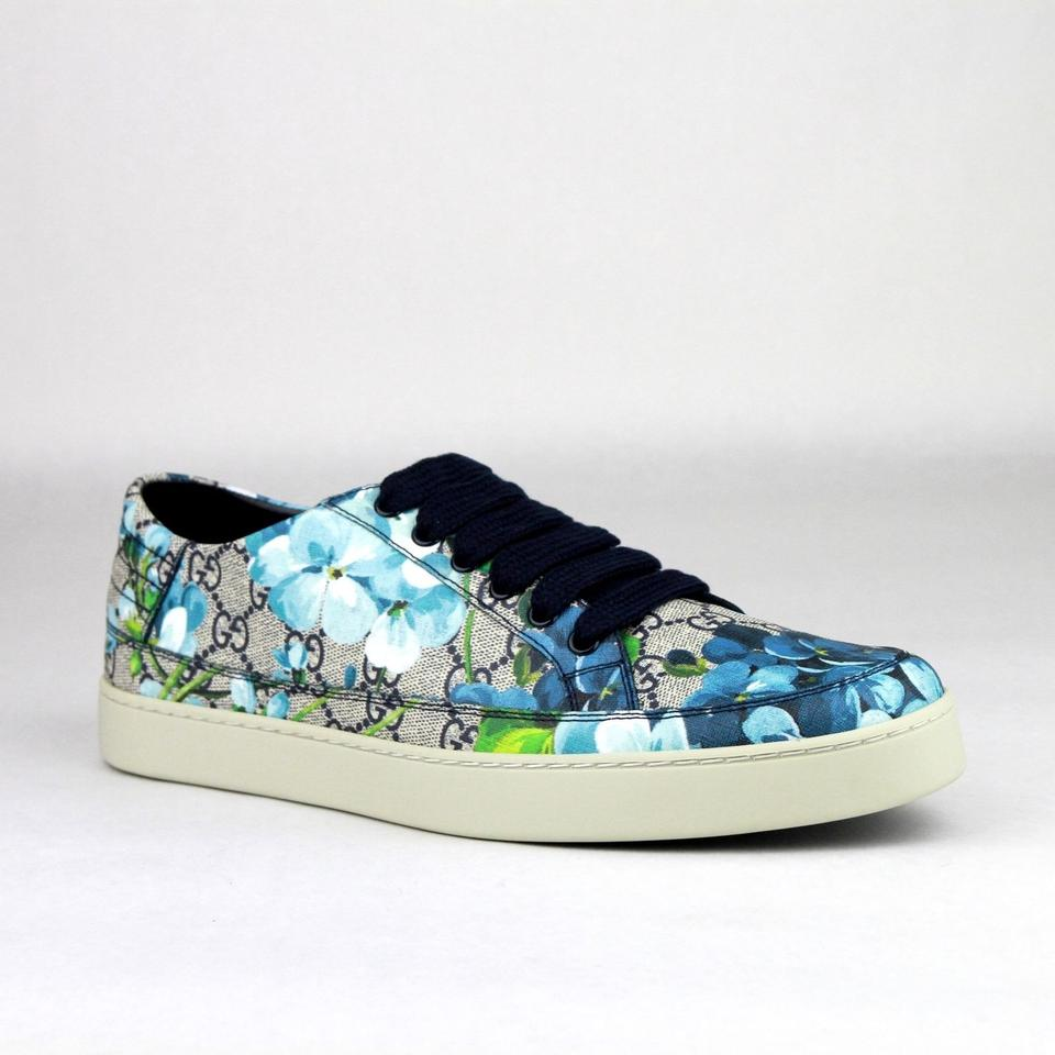 020b2da657d44 Gucci Blue Men s Bloom Print Flower Sneaker 8g Us 9 407343 8470 Shoes Image  0 ...