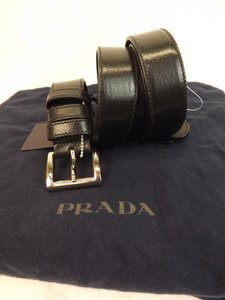 Prada Black Textured Leather Small Silver Buckle Belt Size 90-36 Men's Jewelry/Accessory