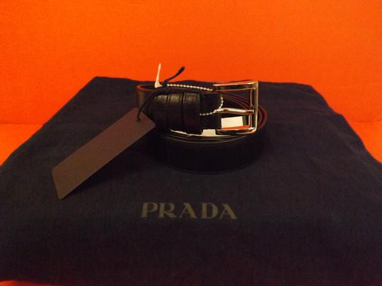 Prada Black Textured Leather Small Silver Buckle Belt Size 90-36 Men's Jewelry/Accessory Image 1