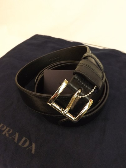 Prada Black Textured Leather Small Silver Buckle Belt Size 90-36 Men's Jewelry/Accessory Image 3