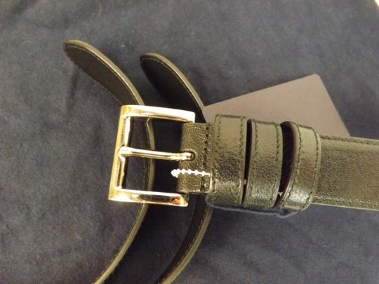 Prada Black Textured Leather Small Silver Buckle Belt Size 90-36 Men's Jewelry/Accessory Image 4