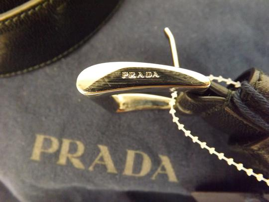 Prada Black Textured Leather Small Silver Buckle Belt Size 90-36 Men's Jewelry/Accessory Image 5