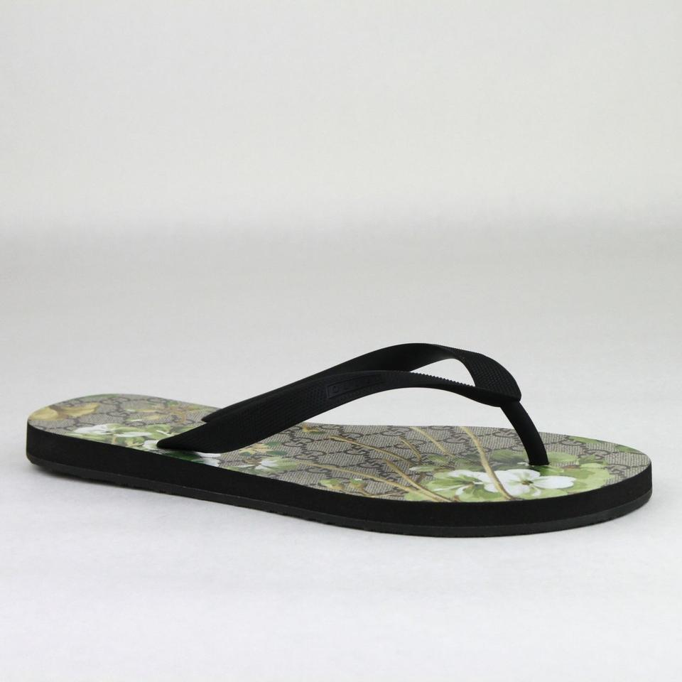 33313433b8c Gucci Black Green Men s Bloom Print Flower Thong Sandal 7g   Us 8 283029  1083 ...