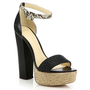 Alexandre Birman Espadrille Leather Python Sandal Black Platforms
