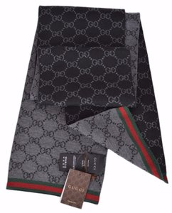 Gucci New Gucci 325806 Wool Black Reversible GG Guccissima Red Green Scarf