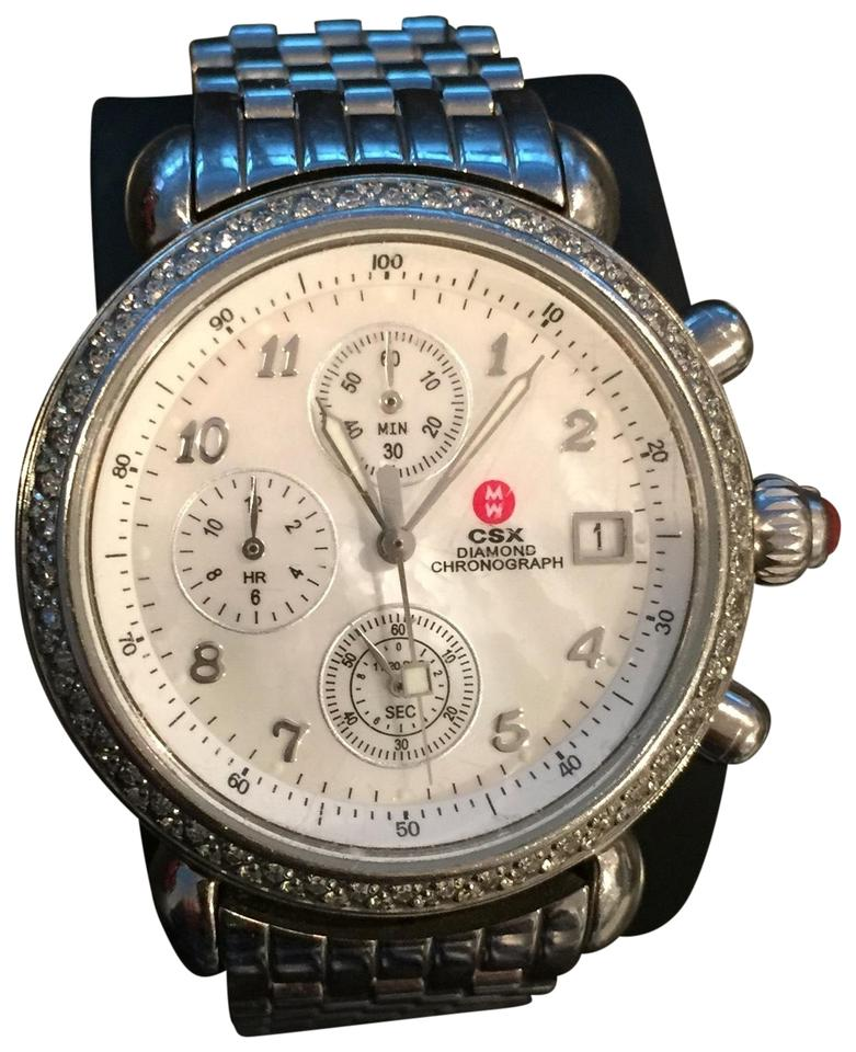 Michele Stainless Steel With Mother Of Pearl Face Csx Diamond Chronograph 71 4000 5000 Watch 77 Off Retail