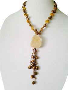 Embellished By Leecia. Large Citrine Rough & Gold Freshwater Pearls On Tassel Necklace