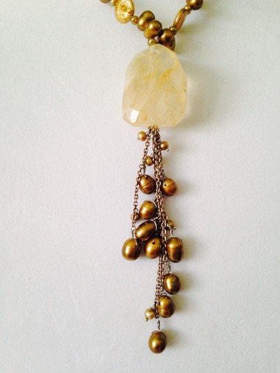 Other Embellished By Leecia. Large Citrine Rough & Gold Freshwater Pearls On Tassel Necklace