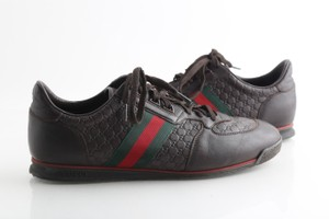 Gucci Brown Leather Sneaker with Web Shoes