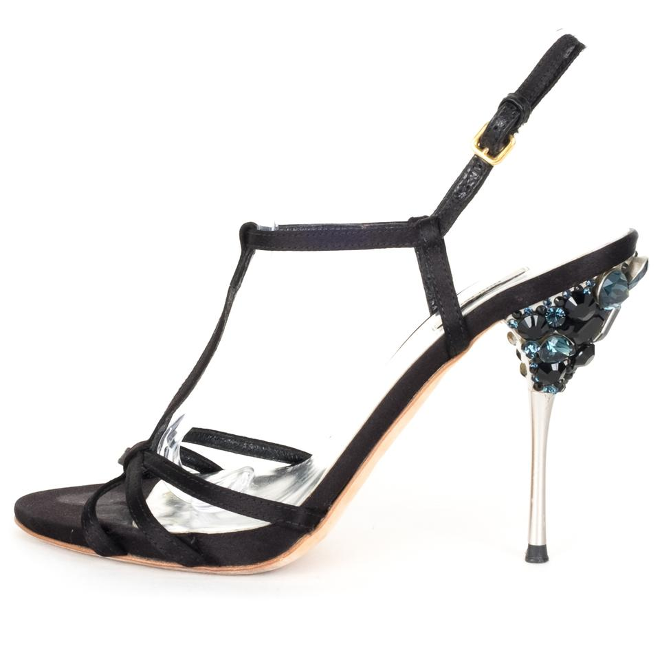 Miu Miu Black Jeweled Satin Strappy Heels with Jeweled Black Heel Sandals 1cb52e
