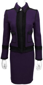 Pink Tartan Purple Textured Wool L/s Jacket w/ Black Trim - Skirt Suit