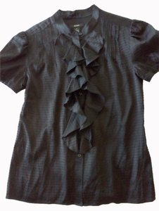 Alfani Ruffle Blouse Button Down Shirt Black