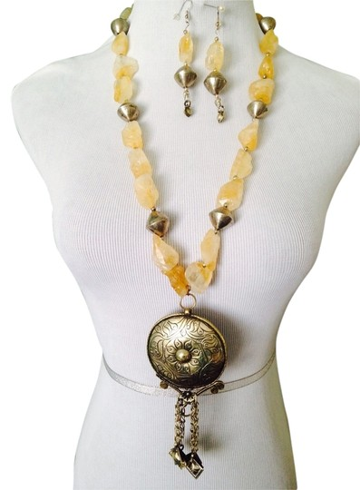 Other 2-Piece Set, Large Citrine Rough With Silver & Brass Medallion Necklace & Earrings