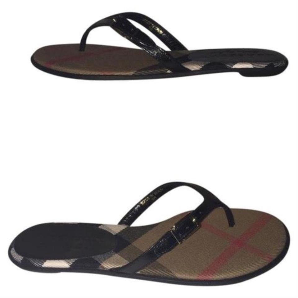 607710d5903aa2 Burberry Black Brown Red Multi Thong Sandals Size US 7 Regular (M