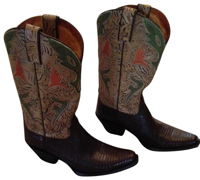 Item - Brown Green Lizard Lilly Cowgirl Women's Boots/Booties Size US 9 Regular (M, B)