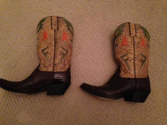 Frye Western Cowgirl Cowgirl Leather Brown Green Lizard Boots