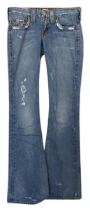 True Religion Distressed Denim Boot Cut Jeans-Distressed