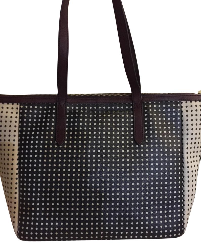 Fossil Leather Pvc Polka Dot Tote In Cream And Black