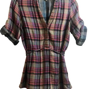 Odille Button Down Shirt Purple and blue plaid