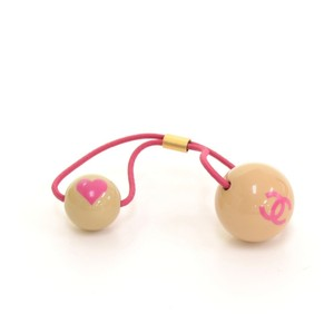 Chanel Chanel Pink CC Heart Rubber Hair Band Tie CE203