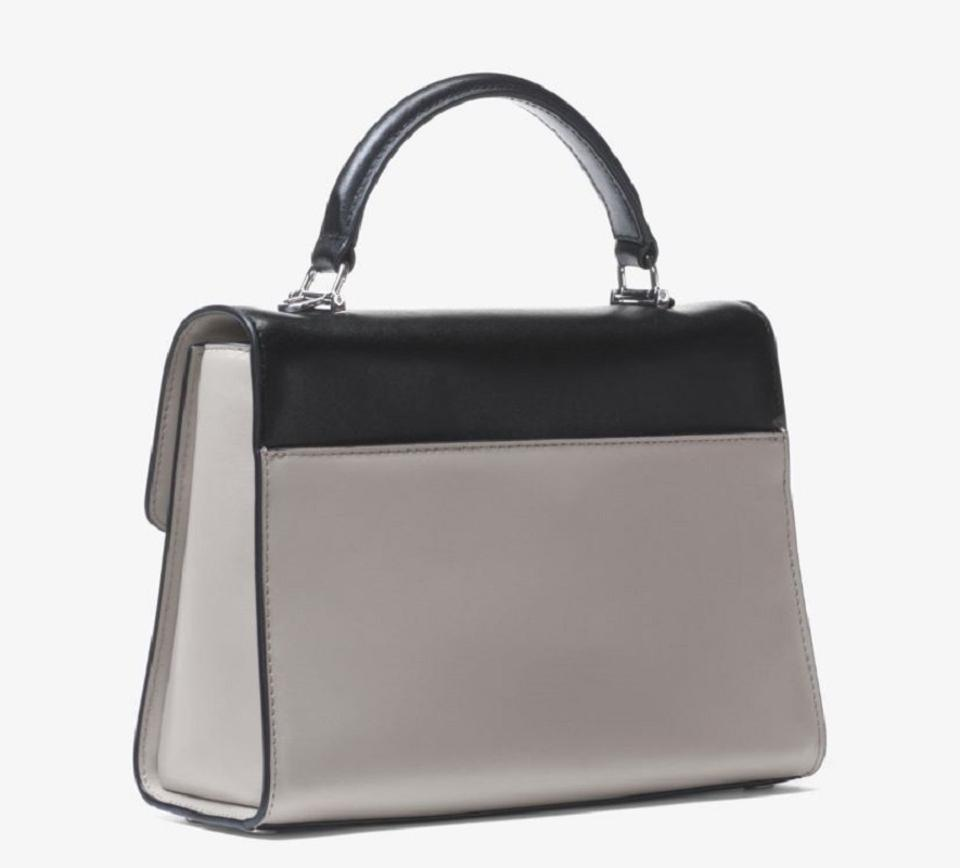 bda903710b625 MICHAEL Michael Kors Color-block Grey Black Top-handle Leather Mk Sloan  Shoulder. 1234