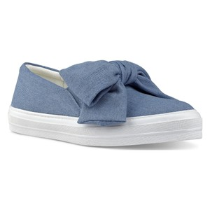 Nine West Bow Casual Sneaker Canvas Denim Blue Athletic