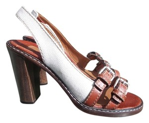 Chloe Summer Designer Leather White and brown Pumps