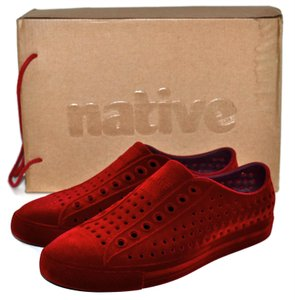Native Sneakers Velvet Slip On Red Athletic