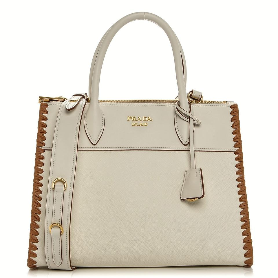 0e541d1f73a1 Prada 2 Dust Cover Id Ard Care Booklet Tote in White   Caramel Image 0 ...