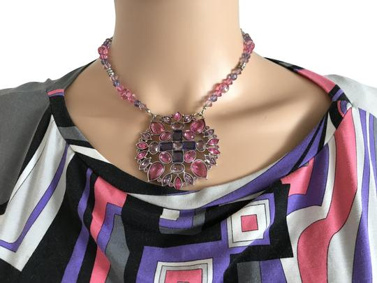 Preload https://item4.tradesy.com/images/swarovski-pink-lavendar-and-silver-circle-necklace-2248223-0-2.jpg?width=440&height=440