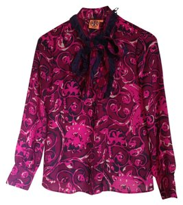 Tory Burch Wool Silk Top Purple flower motif